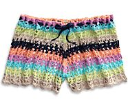 Crochet Shorts Beach Cover Up, Multi, dynamic