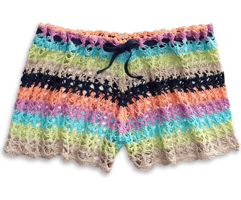 Crochet Shorts Beach Cover Up, Multi, dynamic