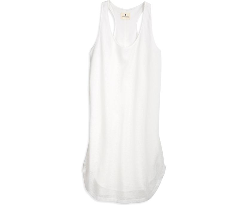 Racerback Slub Tank Dress, White, dynamic