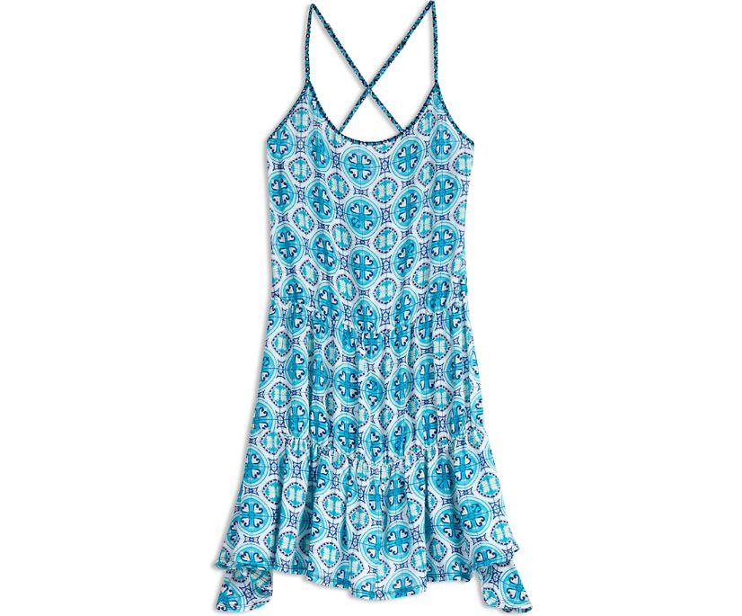 Medallion Mix Tiered Swing Dress, Multi, dynamic