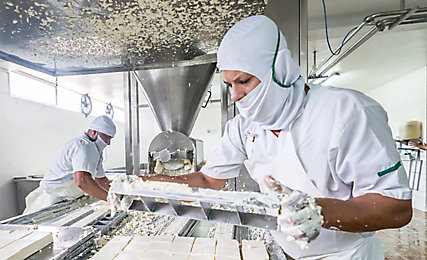 Factory workers making cheese