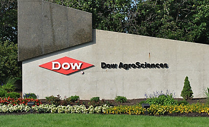 Large stone Dow Agrosciences sign
