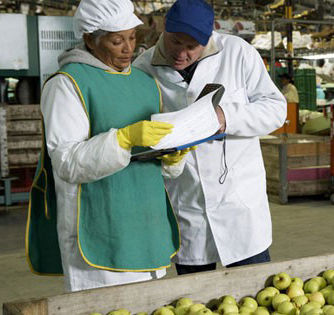 Two workers inspecting food safety paperwork