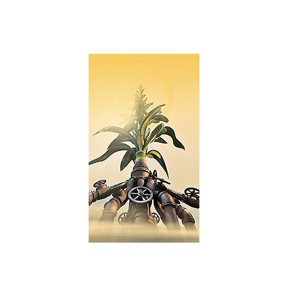 Planta con raíces de hierro