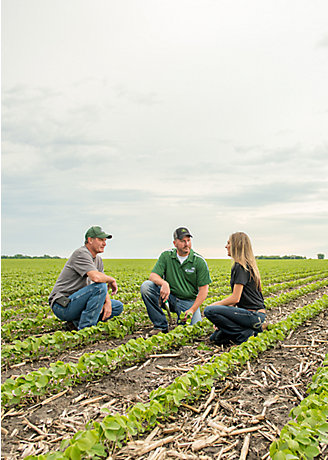Pioneer reps in a soybean field