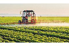 Sprayer in soybean field