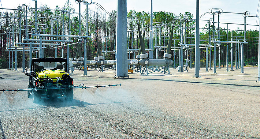 Power substation being sprayed by an ATV