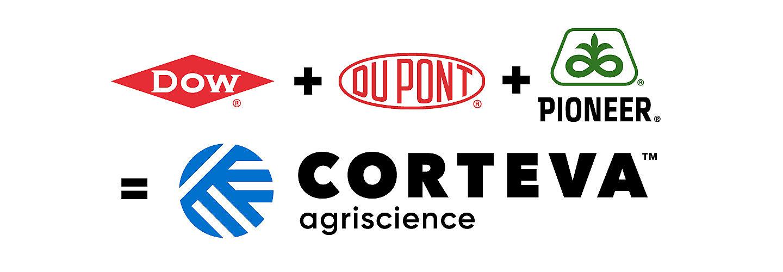 Dow Dupont Pioneer Corteva logos