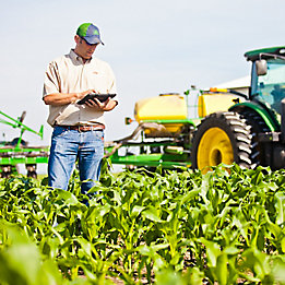 Image of farmer checking field.