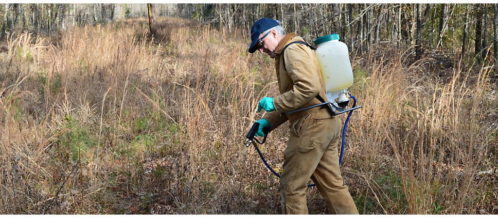 man spraying
