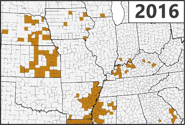 Map - U.S. - Confirmed detections of southern rust in corn through the first week of September during the 2016 growing season.