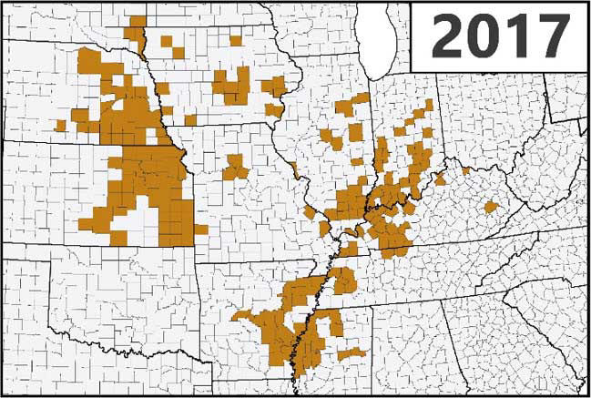 Map - U.S. - Confirmed detections of southern rust in corn through the first week of September during the 2017 growing season.