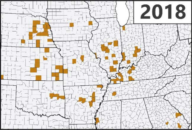 Map - U.S. - Confirmed detections of southern rust in corn through the first week of September during the 2018 growing season.