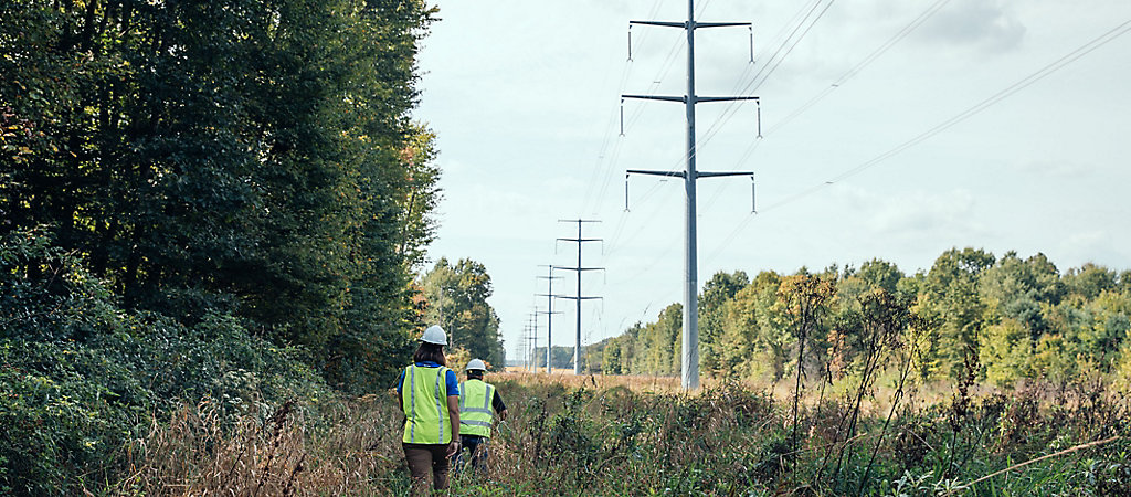 Corteva rep and field worker going through powerline field