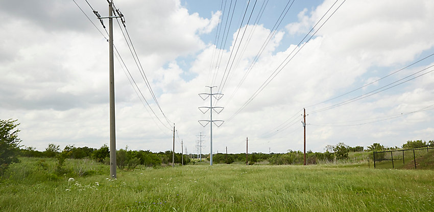 rights-of-way with electric towers and power lines