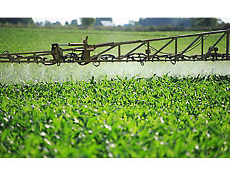 Sprayer boom in corn field