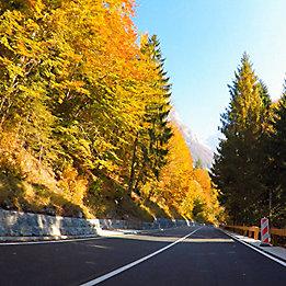 Beautiful roadside through mountains