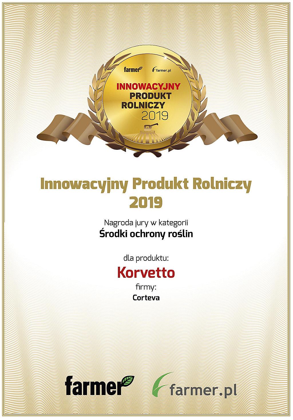 Dyplom Inowacyjny Produkt 2019