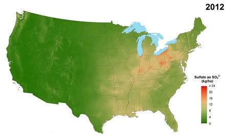 Average annual sulfate deposition from precipitation, 2012.