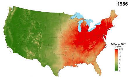 Average annual sulfate deposition from precipitation, 1986.