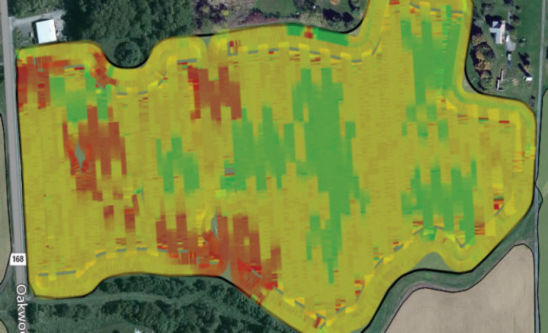 Map showing as-planted data for VRS study field.