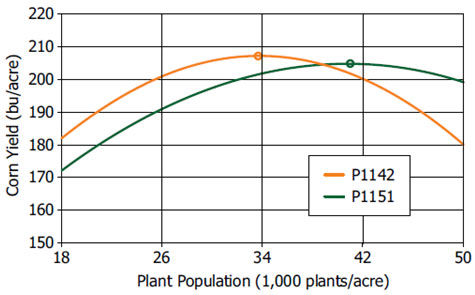 Corn yield response to plant population of 2 Pioneer brand hybrid families with similar comparative relative maturity.