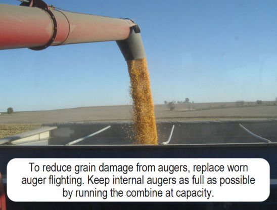 To reduce grain damage from augers, replace worn auger flighting. Keep internal augers as full as possible by running the combine at capacity.