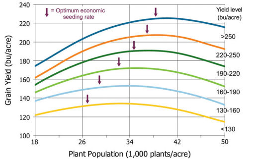 Corn yield response to population and optimum economic seeding rate by location yield level, 2006-2012.
