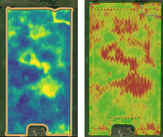 Crop Health Index map showing an area of reduced crop health caused by corn rootworm feeding and yield map showing a corresponding area of reduced yield.