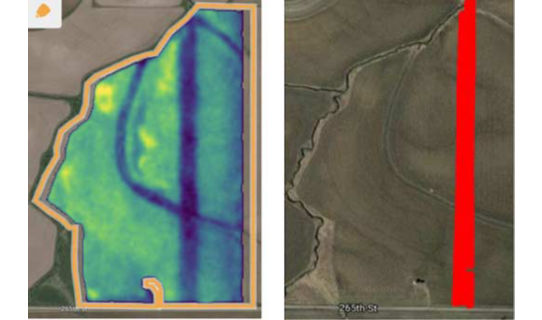 Encirca Pro satellite imagery and associated application map for VT corn fungicide application in Carroll County, IA, August 2018.