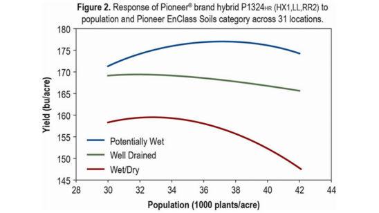 Chart: Response of Pioneer® brand hybrid P1324HR(RX1,LL,RR2)