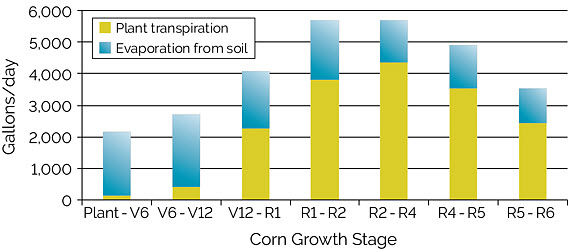 Chart showing evapotranspiration of water in gallons/acre to support corn growth in Iowa during different stages of corn growth.
