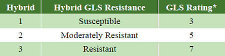 Gray leaf spot resistance ratings of Pioneer brand hybrids.