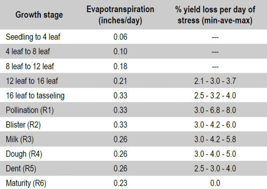 Estimated corn evapotranspiration and yield loss per stress day during various stages of growth