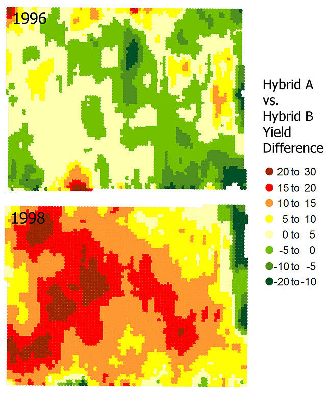 Yield difference maps from a Pioneer split-planter study conducted in northern Illinois in 1996 and 1998, using the same two hybrids both years.
