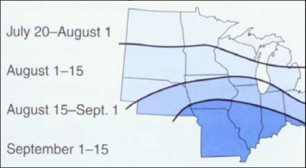 Map: First killing frost dates - Midwest