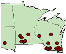 Map listing18 locations evaluated in Wisconsin, Minnesota and South Dakota for effect of harvest timing on corn yield and moisture, 2013.