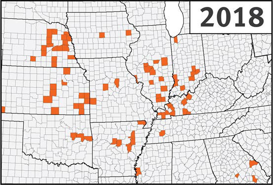 Map - Detections of Southern Rust in corn, 2018.