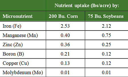 Micronutrient uptake by corn and soybeans.