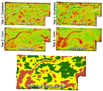 Four years of mapped yield data are combined into one Multi-Year Yield layer.