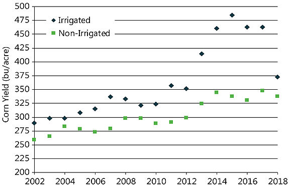 Graph showing average corn grain yield of NCGA National Corn Yield Contest national winners in irrigated and non-irrigated classes, 2002 to 2018.