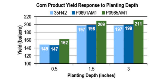 Chart - corn product yield response to planting depth.