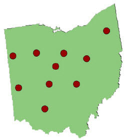 Ohio State University Ohio Corn Performance Test research locations map