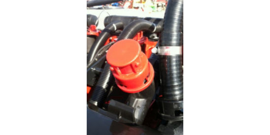 Install orange cap on mini-hopper hose inlet