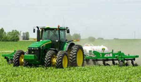In-field application of anhydrous ammonia.