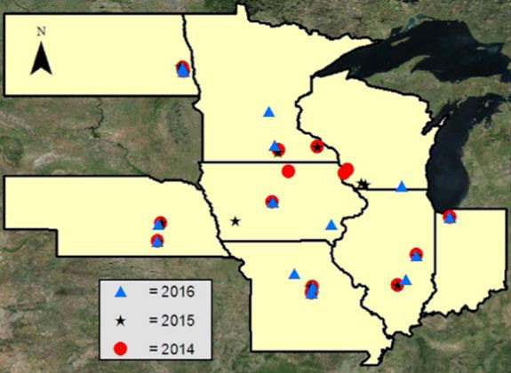 Map showing research locations across eight states included in a 3-year split corn nitrogen application study (2014-2016).