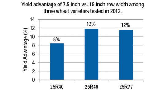 Yield advantage of 7.5-inch vs. 15-inch row width