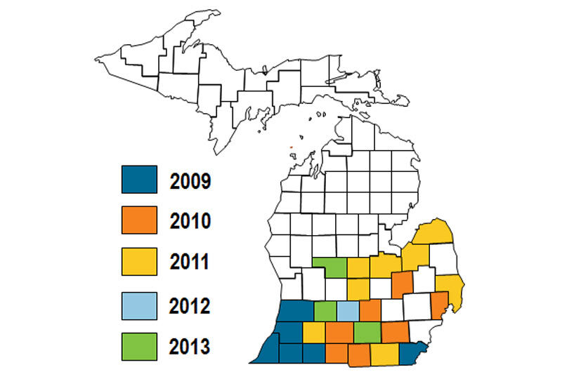 Map: Michigan counties and year of SDS confirmation.