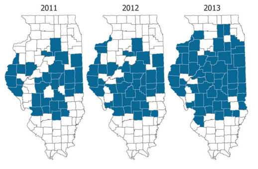 Illinois counties (blue) in which resistant waterhemp has been confirmed by molecular assay.
