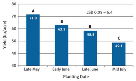 Planting date effect on soybean grain yield averaged among years and tested varieties 2013-2015.